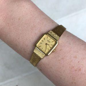 Seiko vintage gold watch quartz Japan Art Deco MCM